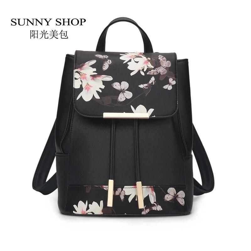 SUNNY SHOP New Flower font b Women b font Drawstring font b Backpack b font Fashion