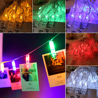 Oobest Christmas Decoration 8 Colors 40LEDs Card Photo Clip For Birthday Wedding Fairy String Light Durable