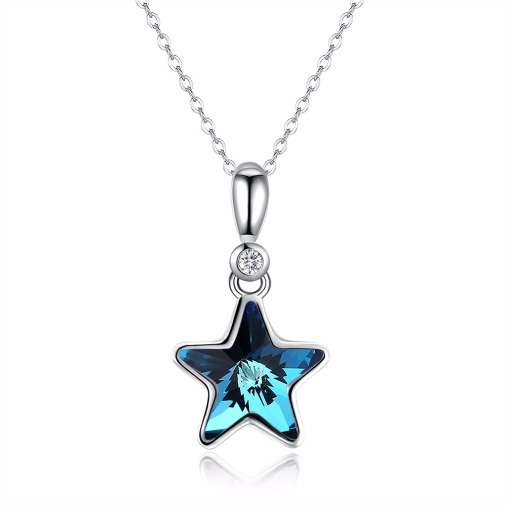 Star Shape Pendants Necklaces Made with Swarorski Crystal Real 925 Sterling Silver Fine Jewelry for Women Party Gift Promotion