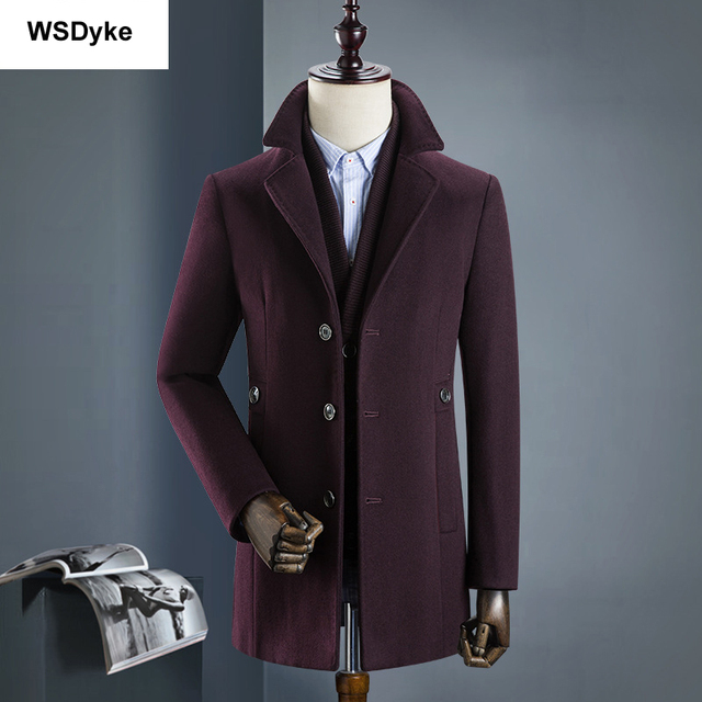 2018 New Medium Long Thick Detachable Liner Men Wool Coat High Quality Turn Down Collar Casacos Masculino 1