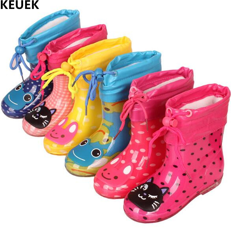 New Autumn Winter Rain Boots Children With Plush Warm Ankle Boots Boys Baby Toddler PVC Waterproof Water Shoes Kids Girls 03B
