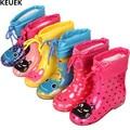 Neue Herbst Winter Regen Stiefel Kinder Mit Plüsch Warme Stiefeletten Jungen Baby Kleinkind PVC Wasserdichte Wasser Schuhe Kinder Mädchen 03B