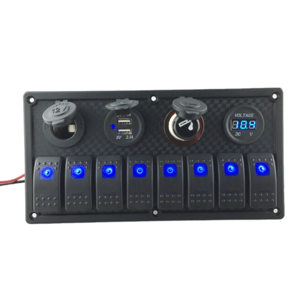 Pro 8 Gang LED Car Boat Rocker Switch Panel Dual USB Cigarette Lighter Socket Voltmeter Auto Car Switch Panel LED Boat Switch Pa g126y 2pcs red led light 25 31mm spst 4pin on off boat rocker switch 16a 250v 20a 125v car dashboard home high quality cheaper