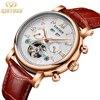 KINYUED Mens Watches Top Brand Luxury Automatic Watch Men Skeleton Tourbillon Wrist Watch Man Fashion Casual