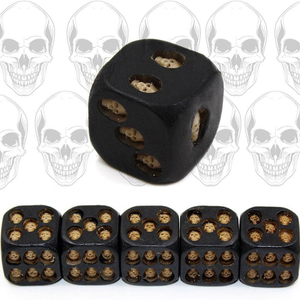 5pcs/set Black Skull Dice Grinning Skull Deluxe Devil Poker Dice Play Game Dice Tower with Death Table Games Travel accessories(China)