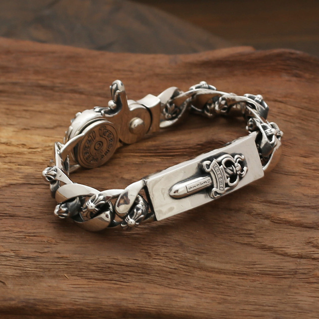 Wholesale silver jewelry S925 star with a Korean male personality retro sword spring buckle Bracelet Silver