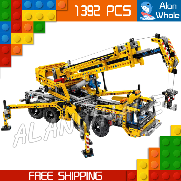 1392pcs Techinic 2in1 Mobile Crane Arms 20040 DIY 8 Wheels Model Building Kit Blocks Gifts Collection Toys Compatible With lego