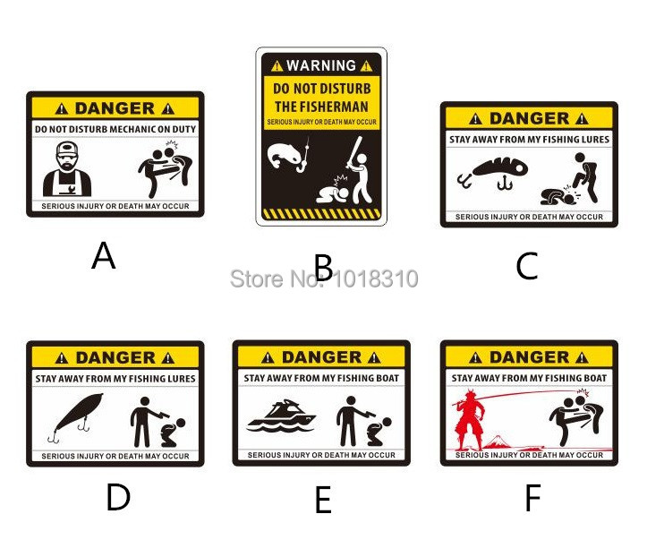 Funny Warning DANGER Fishing Sticker Personality Outdoor Fishing - Funny motorcycle custom stickers decals
