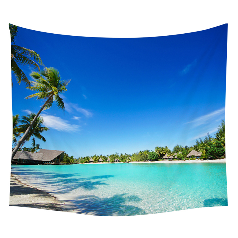 Tapestry New Fashion Reality Wave Sunset Beach Pattern Wall Hanging Tapestry Ocean Print Beach Throw Blanket Home Decor Wall Hanging Tapestry Supply