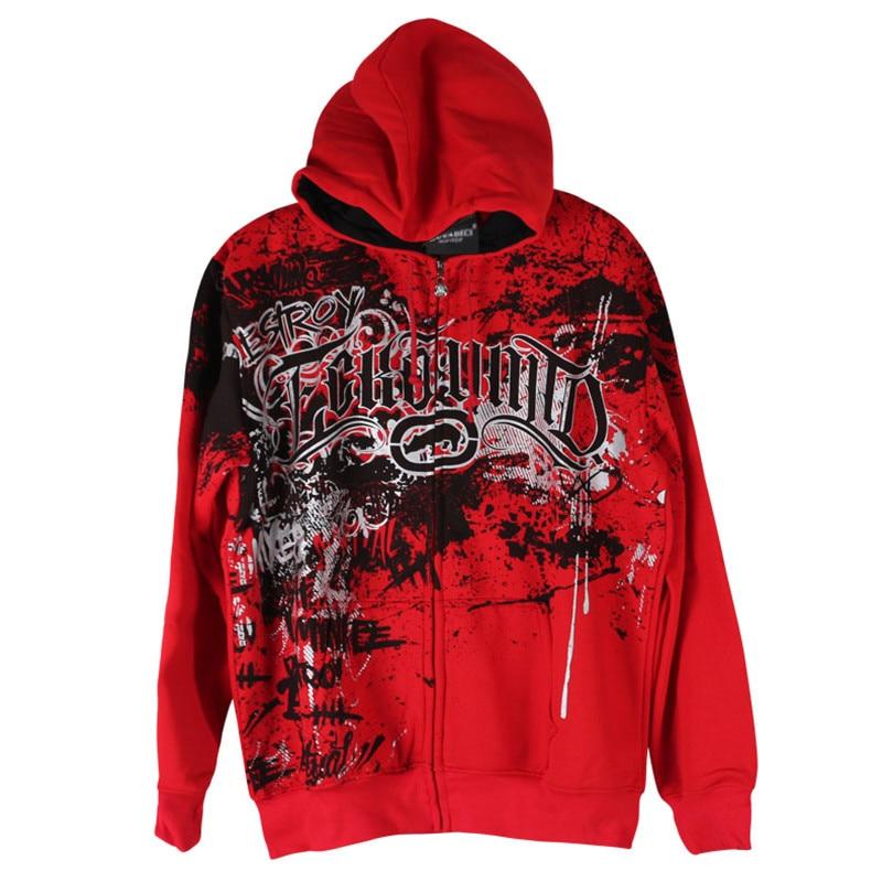 New winter trend hip-hop casual hoodie zipper fleece jacket men's thick section printing