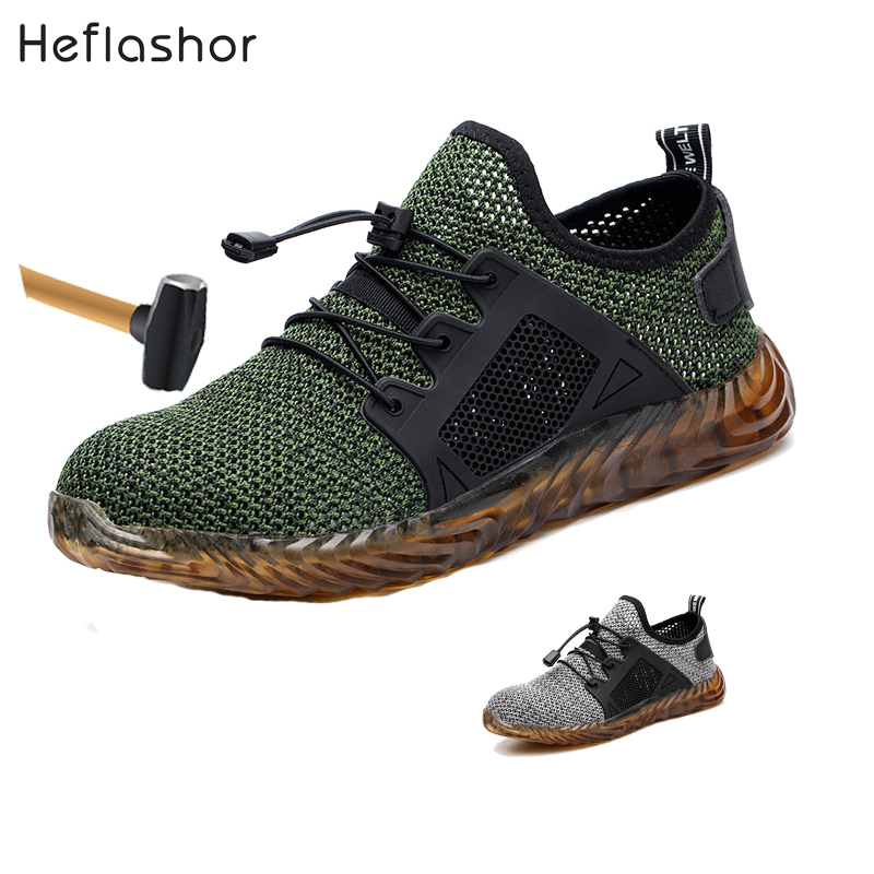 HEFLASHOR Indestructible Ryder Shoes Men And Women Steel Toe Air Safety Boots Puncture-Proof Work Sn