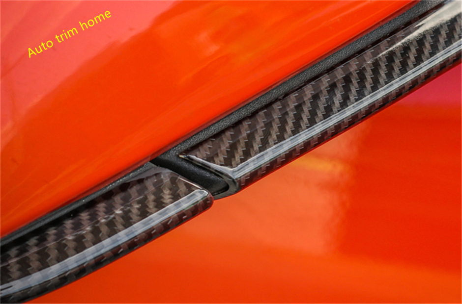 Carbon Fiber Style For Ford Mustang 2015 2016 2017 ABS Door Mirror Protection Strip Streamer Molding Garnish Cover Trim 4 Piece accessories for chevrolet camaro 2016 2017 abs carbon fiber style the co pilot central control strip molding cover kit trim page 8