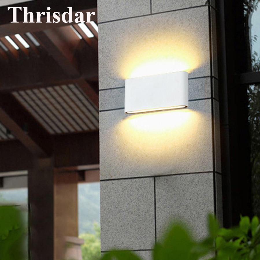 Thrisdar 2pcs Led Wall Lamp Lighting Fixtures Outdoor Garden Porch Wall Light Waterproof Villa Courtyard Corridor