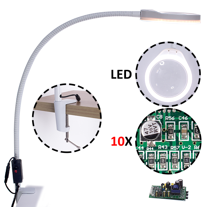 3X 5X 8X 10X Desk Clip on Magnifying Glass Lamp Lighted Illuminated Optical Magnifier for PCB
