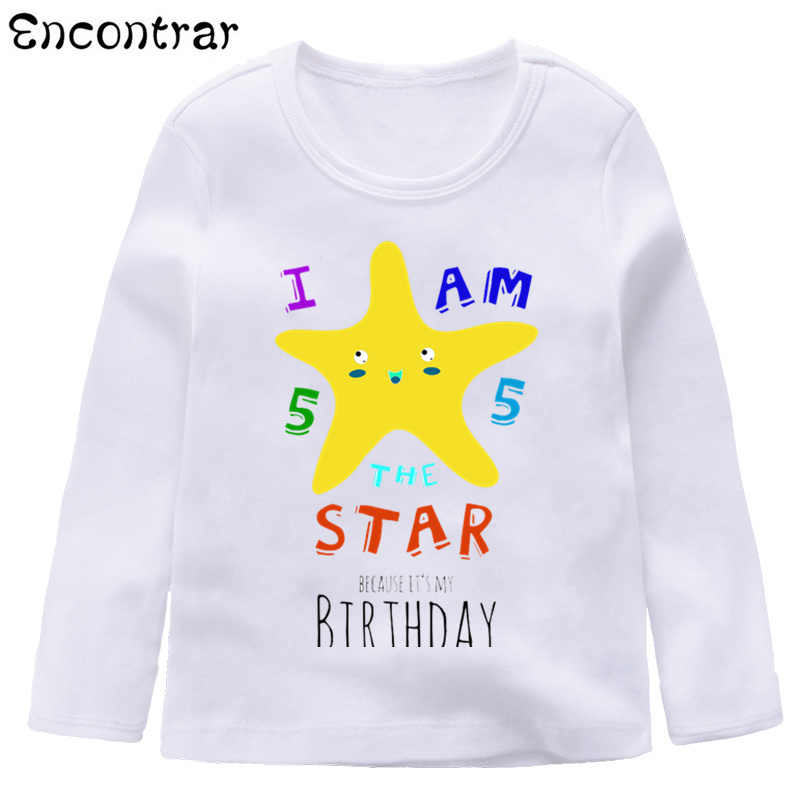 Kids Happy Birthday Unicorn Pig Star Design T Shirt Boys Girls Cute Long