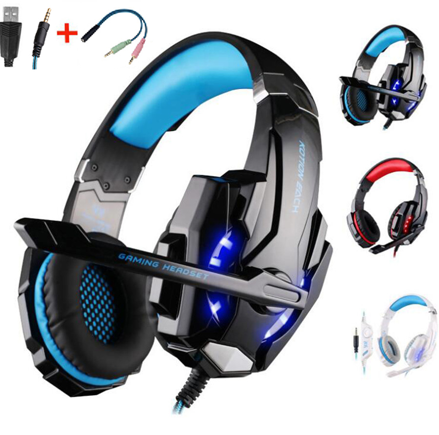 KOTION EACH G9000 Gaming Headphone Headset Stereo Earphone Headband with Mic LED Light for PS4 Laptop PC Computer Gamer XBOX hot 3 5mm led illuminated headband style gaming headset headphone with mic for pc wholesale