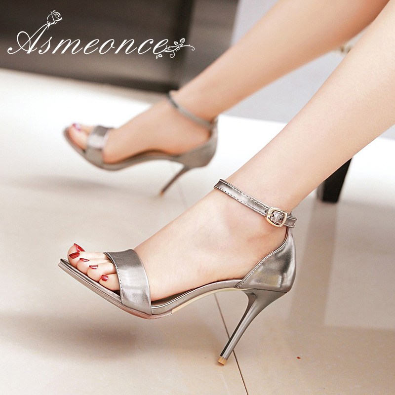 77a4c841f Women Sandals Open Peep Toe High Heels Leather Buckle Female Gladiator  Glossy Concise Sexy Summer Woman
