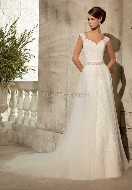 Famous V Neck Cap Sleeves Lace Liques On Net Bridal Gown With Removable Tulle Overlay