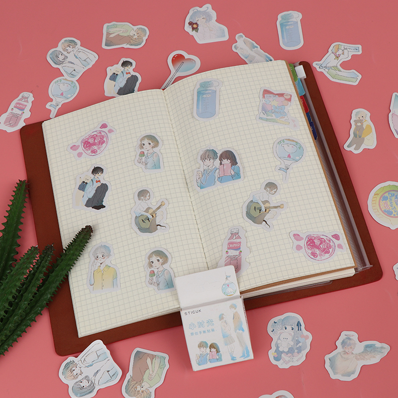 46pcs Cartoon Girl Boy Scrapbook Decor Paper Stationery Stickers School Office Supply(China)