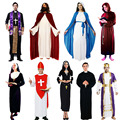Jesus Drama Clothing Pope Nun Costume Cosplay Carnival Halloween Costumes for Women Men Kids Christmas Birthday Party