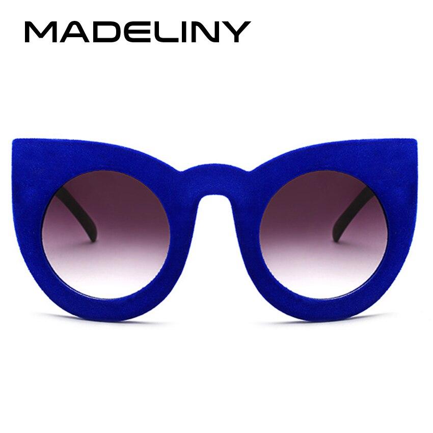 Humor Madeliny Nieuwe Mode Vrouwen Cat Eye Zonnebril Merk Designer Pluche Persoonlijkheid Grens Fluwelen Frame Luxe Zonnebril Ma052
