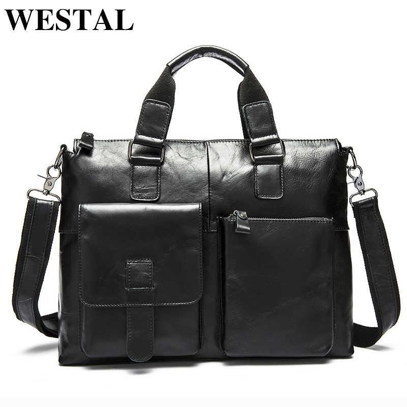 ddd62adb963a ... WESTAL мужская сумка через плечо натуральная кожа мужчины сумки на  ремне новое старинные ноутбука бизнес мужские ...