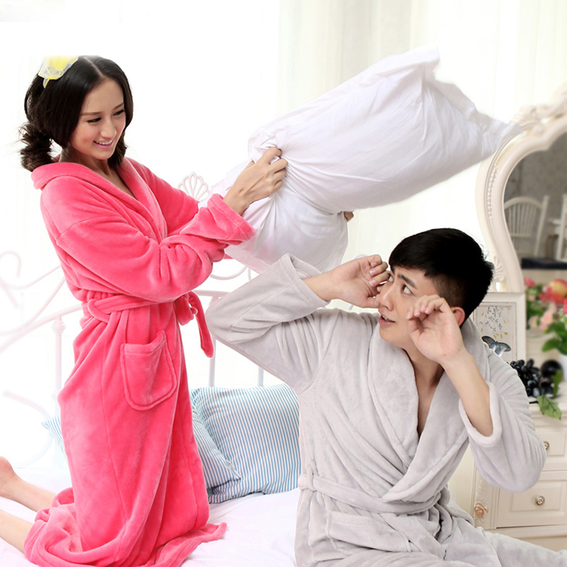 2018 winter thickening flannel lovers bathrobe women coral fleece cotton home warm robe sexy gown long sleeve sleepwear lounge ...