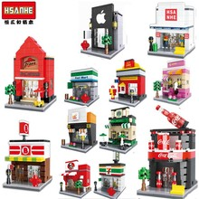 HSANHE Mini Qute WTOYW kawaii sport retail store supermarket coffee Shop plastic building block model brick educational toy(China)