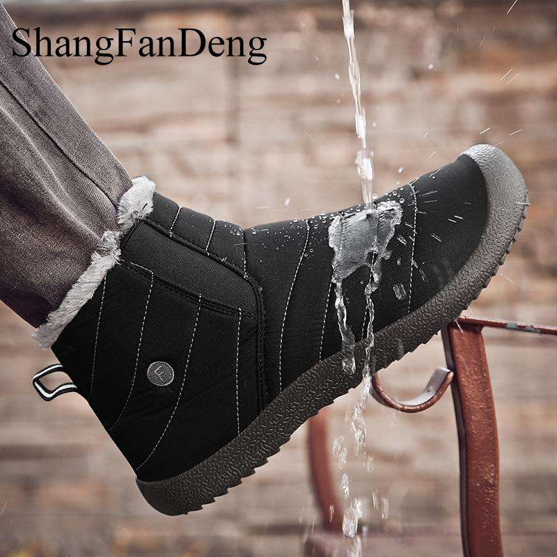 Fashion Snow Boots Winter Warm Men Boots Plush Inside Waterproof Ski Shoes For Men Anti-skid Bottom Ankle Male Botas Size 36-48