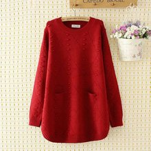 Plus size autumn winter O-Neck women Knitted pullovers 2019 pink & dark red & black hollow out ladies sweater wool female 4XL