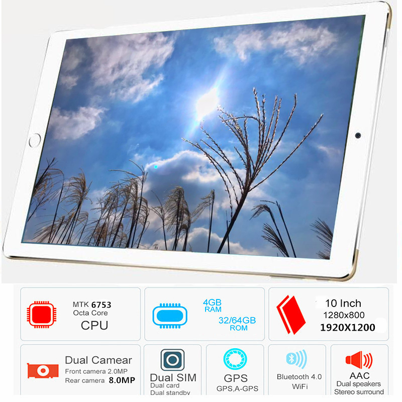 Free Shipping 2019 Original 10.1' 3G/4G Phone WIFI tablet PC 8 Octa Core RAM 4GB ROM 32GB MT6753 1920*1200 IPS metal tablets pcs