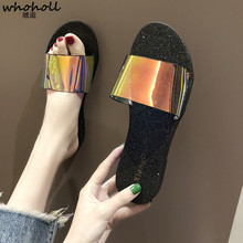 WHOHOLL 2019 Women Glitter Slippers Summer Beach Flats Casual Flip-flops Shoes Woman Sunglasses Bling Slides Slip on