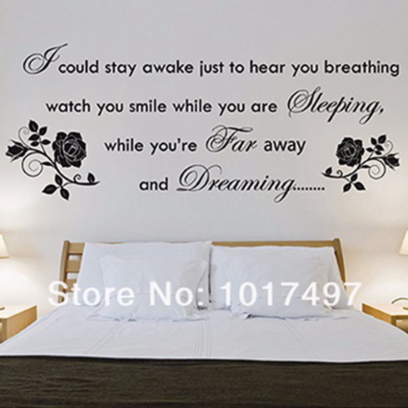 Romantic wall stickers bedroom decor Aerosmith Lyrics  BREATHING  Rose Bedroom  Wall Art Decoration. stickers white Picture   More Detailed Picture about Romantic wall