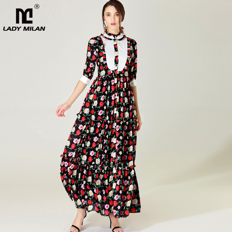 New Arrival 2018 Womens O Neck Long Sleeves Tiered Ruffles Floral Printed Patchwork Designer Maxi Runway Dresses
