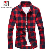2017 New Fashion Brand Men Shirt Cotton Lattice Dress Shirt Long Sleeve Slim Fit Camisa Masculina