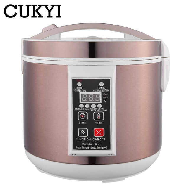 CUKYI 5L / 6L Automatic Black garlic fermenter household DIY zymolysis pot maker 110V 220V black garlic fermenting machine EU