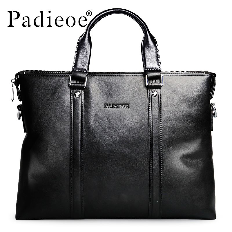 Padieoe Top Quality Real Cow Leather Totes Luxury Brand Men's Leather Briefcases Business Mens Genuine Male Bag Black padieoe luxury brand genuine real cow leather messenger bags business men briefcases handbags men totes casual male bag shoulder