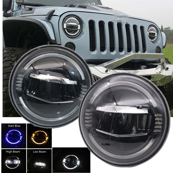 New Car 7inch LED Round Headlight Amber turn signal White DRL Hi Low Beam for Jeep Wrangler JK TJ LJ lada niva 4X4
