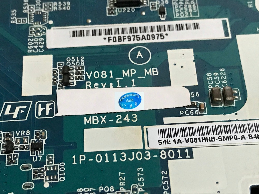 NEW V081_MP-MB MBX-243 REV: 1.1 FREE SHIPPING LAPTOP MOTHERBOARD For Sony VPCF23 SERIES Notebook pc ( NOT SUPPORT 3D FUNCTION ) new working free shipping 763424 501 day23amb6f0 rev f laptop motherboard for hp pavilion 17 f series notebook pc