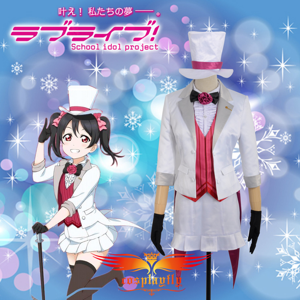 Love Live! Nico Yazawa Magician Unawakened White and Red Cosplay Costume Custom Made Adult Women Outfit Clothing Dress W0740