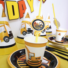 Farm Theme Construction Vehicle Disposable Tableware Set Party Decoration Kids Birthday Supplies Boys Favor