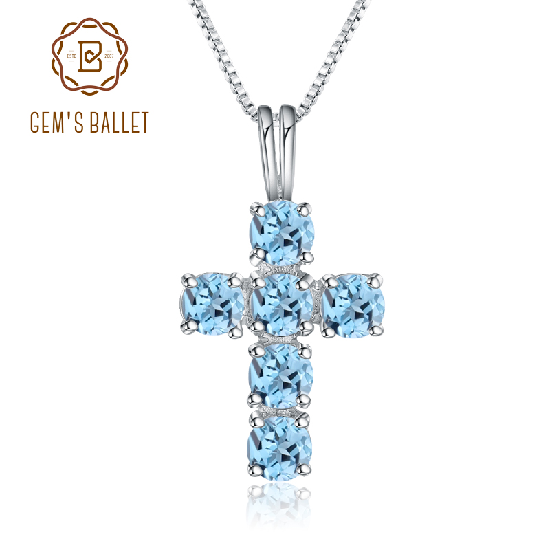 Gem's Ballet Natural Swiss Blue Topaz 925 Sterling Silver Gemstone Cross Pendant Necklaces For Women Fine Jewelry Collares