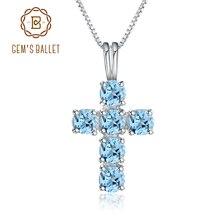 Mücevher bale doğal İsviçre mavi Topaz 925 ayar gümüş taş çapraz kolye kolye kadınlar için güzel takı Collares