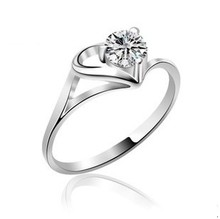 Free shipping MSF brand 2013 new arrival love heart design big zircon crystal 925 sterling silver & platinum plated ladies`rings