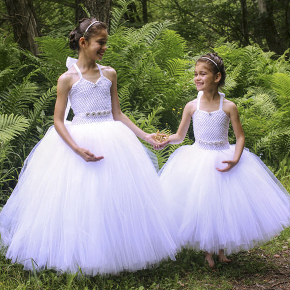 White V Neck Brief Flower Girl Wedding Bridesmaid Party Photography Tutu Dress Formal Girls Pageant Banquet Ball Gown Dresses стоимость