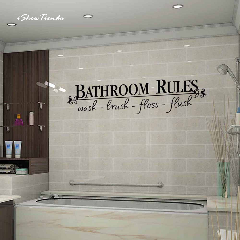ISHOWTIENDA New 1pc 58cm*13cm Bath Room Rules Removable DIY Wall Sticker Mural Home Decal Decor For Bathroom New ...