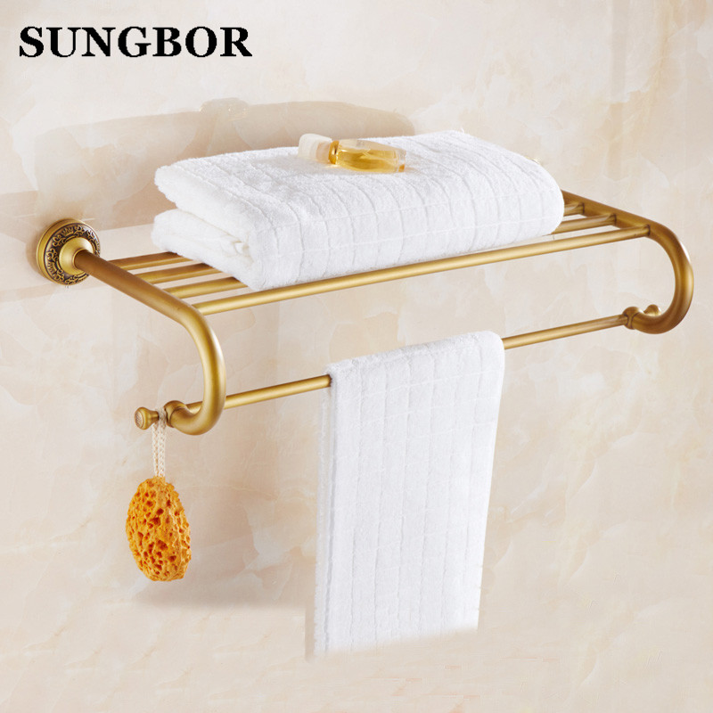 Antique Fixed Bath Towel Holder Wall Mounted Towel Rack 60 cm Brass Towel Shelf Bathroom Accessories Luxury Brass Towel Rail 2016 high quality oil black fixed bath towel holder brass towel rack holder for hotel or home bathroom storage rack rail shelf