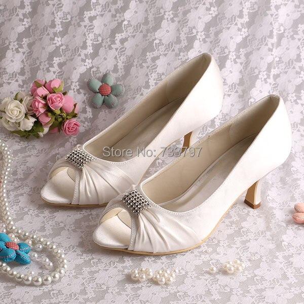 (20 Colors)Custom Handmade Ivory Satin Women 6.5CM Pumps for Wedding Open Toe