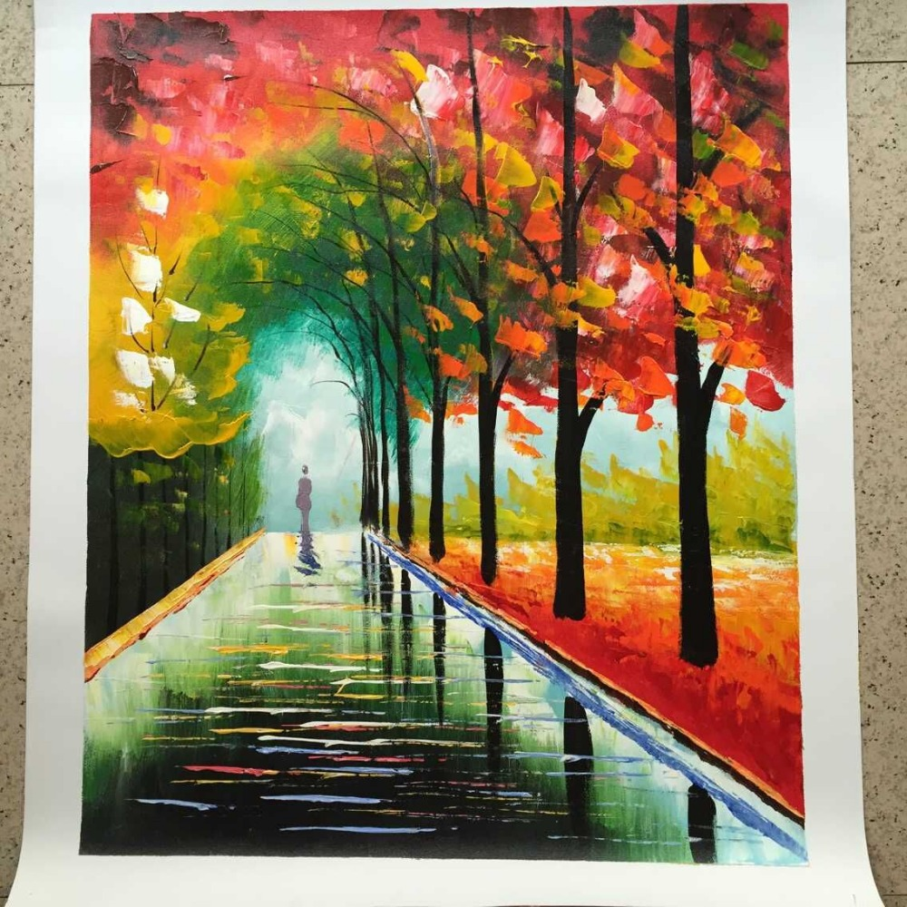 Painting Canvas Aliexpresscom Buy New 100 Hand Painted Landscape City Bench