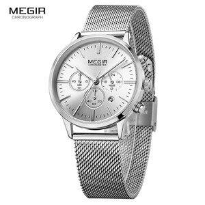 Image 1 - MEGIR קלאסי הכרונוגרף קוורץ שעונים לנשים עמיד למים זוהר 24 שעות אנלוגי פלדת שעון יד לאישה ליידי 2011L 7